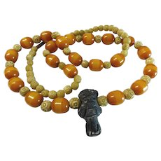 800 Silver Butterscotch Amber Bakelite Tribal Necklace 30""