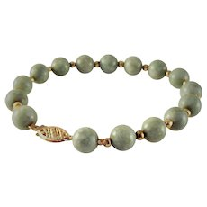 60% OFF 14K Jade Jadeite Beaded Bracelet