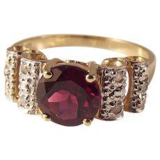 50% OFF 10K Garnet Diamond Round Faceted Gemstone Ring