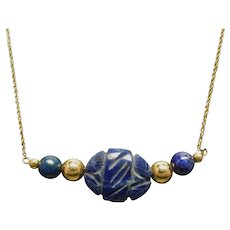 14K  Hand Carved Lapis & Gold Bead Necklace