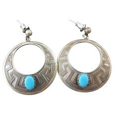 45% OFF Sterling Turquoise Hoop Earrings