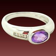 40 % OFF Vintage 14k Amethyst Diamond Band Ring