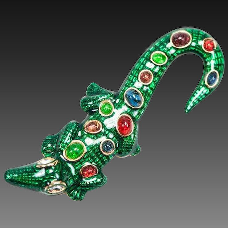 Kenneth Jay Lane Alligator Pin Green/multi 8xhoP