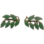 25% OFF 14k Jadeite Jade Leaves omega back Earrings 5.1 grams