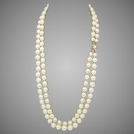 """25% OFF 14k Gold Mabe White Faux Pearls Double Drop 25"""" Necklace"""