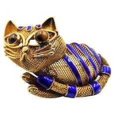 1920 Chinese Export enamel cat Brooch