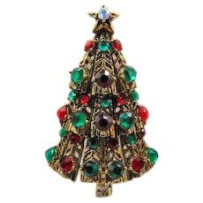 10% OFF Book Piece, Hollycraft Christmas Tree Pin Brooch, Ruby and Emerald Rhinestones