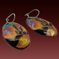 40% OFF Litt enamel copper Earrings hand painted, signed piece