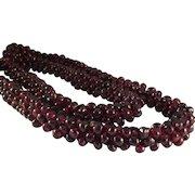 "15% OFF Vintage 500 carats Genuine Red Rhodolite Garnet Gemstone Bead Braided Snake Cord 25"" Necklace"