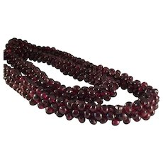 "50% OFF 500 carats Genuine Red Rhodolite Garnet Gemstone Bead Braided Snake Cord 25"" Necklace"