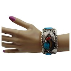 Navajo  Turquoise & Coral Silver Bracelet M. Thomas Jr