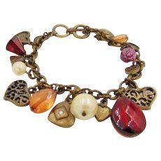Cookie Lee Charm Bracelet Signed