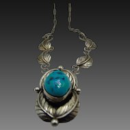 Sterling Signed Navajo Turquoise Necklace