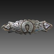 Antique Victorian Sterling HorseShoe Sweetheart Brooch Pin