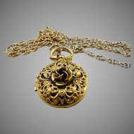 Vintage gold tone Rose Locket