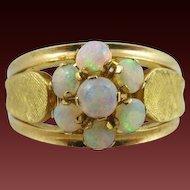 Heavy 18k Opal Floral Leaf Ring Size 8