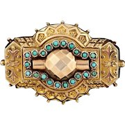 45% OFF Etruscan Revival Victorian Antique Turquoise Locket Brooch