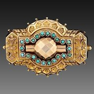 49% OFF Etruscan Revival Victorian Antique Turquoise Locket Brooch