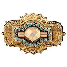 Etruscan Revival Victorian Antique Turquoise Locket Brooch
