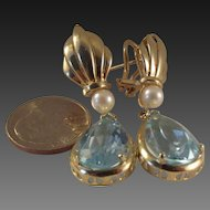 50% OFF-16 carat Large 14k Blue Topaz Pearl Drop earrings