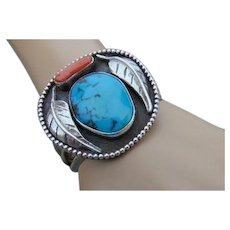 35% OFF Sterling Turquoise Coral Native American Navajo Cuff Bracelet
