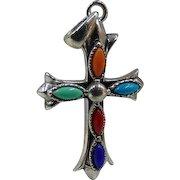 Multi Gemstone Cross Pendant - 925 Sterling Silver