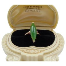 45% OFF Retro 14k Nephrite Jade Ruby Ring