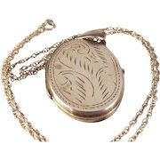 20% OFF 60s Engraved STERLING Photo Locket and Chain