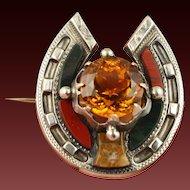 40% OFF Victorian c1860 silver Scottish agate citrine horseshoe brooch