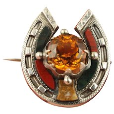 40% OFF Victorian c1860 silver Scottish agate citrine horseshoe brooch