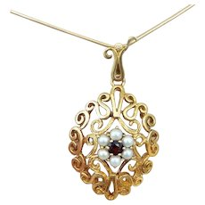 35% OFF 9k Garnet seed Pearl pendant with chain