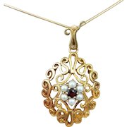 45% OFF 9k large Garnet seed Pearl pendant with chain