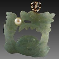 40% OFF 14K Jade Dragon pearl double sided Pendant