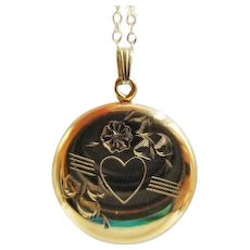 30% OFF Gold Filled Engraved Sweetheart Locket w/Chain