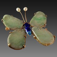 50% OFF Antique Chinese Qing Dynasty Jadeite Jade Butterfly Brooch