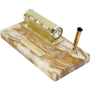 Onyx Desk Set With Pen Holder And Monthly & Daily Calendar