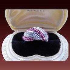 sterling Silver Jacmel Mauritus pink topaz white topaz ring