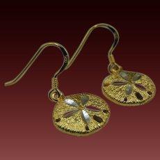 14k Sterling sand dollar earrings