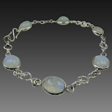 Moonstone sterling silver bracelet| Rainbow moonstone bracelet