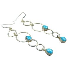 Sterling Turquoise Drop circle Earrings