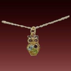 925 Silver & 18K Gold -Gemstones Owl Pendant