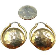 Hammered Hoop Gold Tone vintage earrings