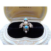 Victorian 14k rose gold turquoise & Pearl Ring