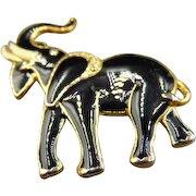 Black enamel Elephant Brooch Pin