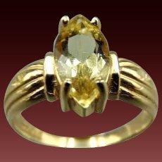 14k Marquise cut Citrine Ring