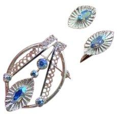 25% OFF Sterling Star Art AB Brooch/ screw back Earrings Set