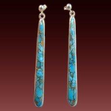 Sterling Turquoise LONG Post Earrings