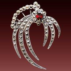 Sterling Marcasite Garnet Firework Pin Brooch