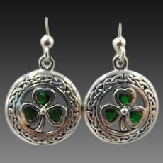 925 Sterling Silver Celtic Knot and Emerald Green Shamrock Earrings