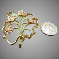 50% OFF Signed Hattie Carnegie Enamel & Goldtone Floral Brooch